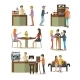 Set of Coffee Room Design Elements