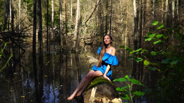 VideoHive A Woman in a Blue Dress on the Background of Wild Nature 19127317