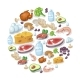 Flat Icons of Meat and Dairy Products