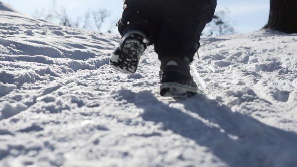 VideoHive Kid Runs in Winter Park 19134062