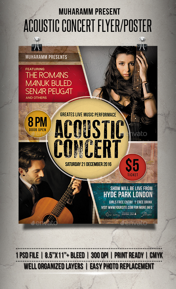 download acoustic concert flyer poster wordpress themes html templates php scripts download. Black Bedroom Furniture Sets. Home Design Ideas