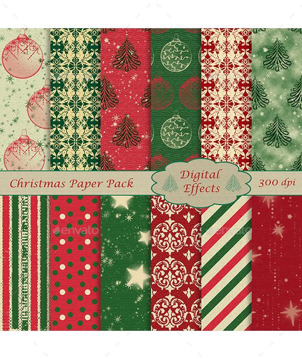 Christmas Digital Paper Pack, 12 Digital Papers, JPG 12x12