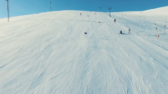 VideoHive Skier on the Giant Track By the Ski-Lift 19135979