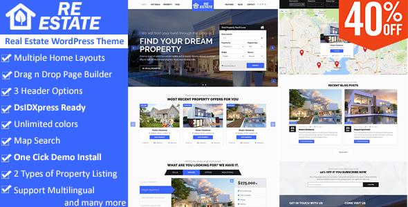 ReEstate - Real Estate with MLS IDX Listing WordPress Theme