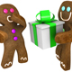 Gingerbread man giving present to friend - GraphicRiver Item for Sale