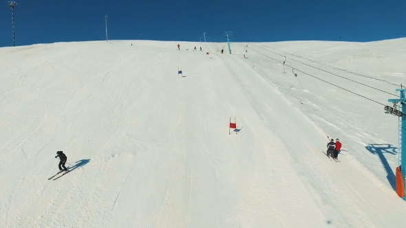 VideoHive Skier Starts Riding on the Giant Track 19136309
