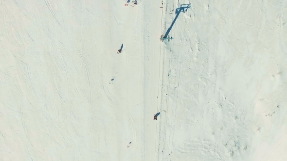 VideoHive Several People Ride Ski By Snow Slope 19136313