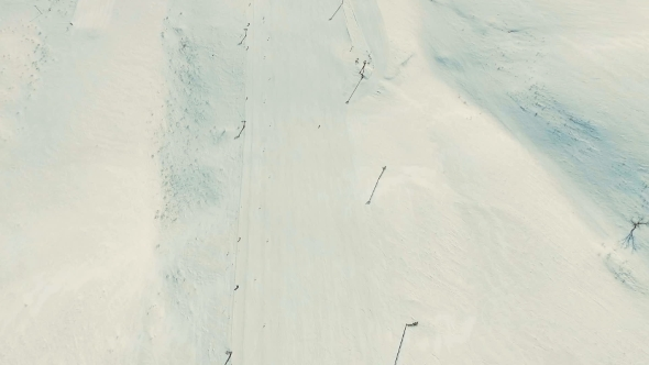 VideoHive Several People Ride Ski By Snow Slope 19136324