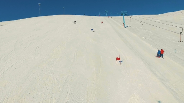 VideoHive Skier Rides Dounhill 19136482