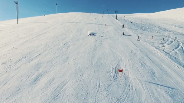 VideoHive Skier Rides Dounhill on Track 19136537