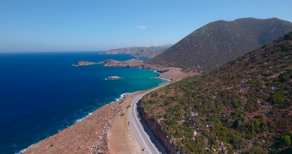 VideoHive Flying Above Road By Seashore 19136559