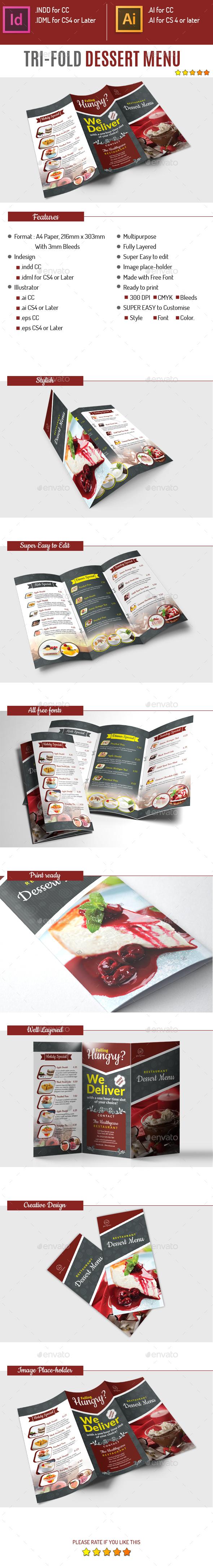 Tri-fold Dessert Menu