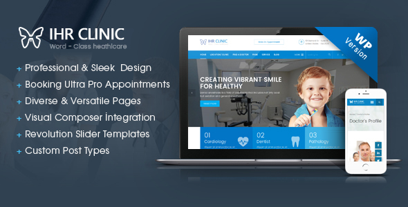 Фото Wordpress Template  IHR Clinic - Medical and Health Care WordPress theme — IHR Clinic WP Preview.  large preview