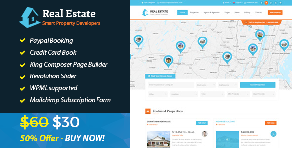 Download Real Estate IDX Property Booking Real Estate and Rental WordPress Theme nulled download