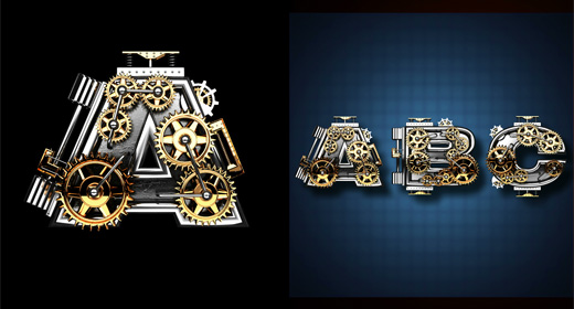 looped alphabets with Alpha