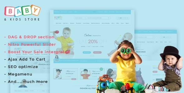 Download Baby Store - DRAG & DROP, clean, responsive Shopify themes nulled download