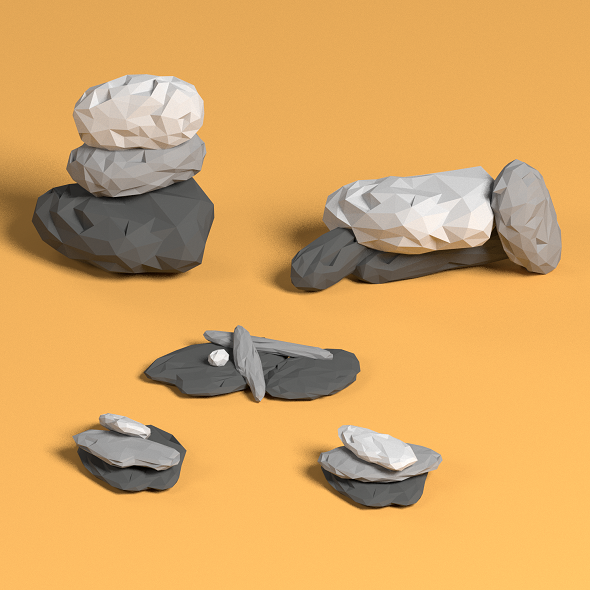 Low poly rock piles - 3DOcean Item for Sale