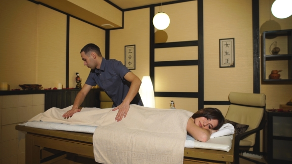 VideoHive Woman Getting a Back Massage 19139806
