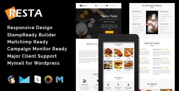 RESTA - Responsive Restaurant Email Template + Stamp Ready Builder