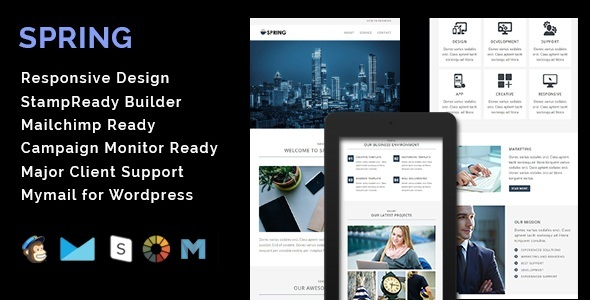 SPRING - Multipurpose Responsive Email Template + Stamp Ready Builder