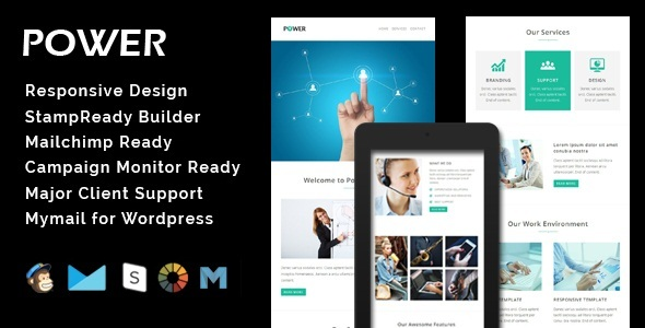 POWER - Multipurpose Responsive Email Template + Stamp Ready Builder