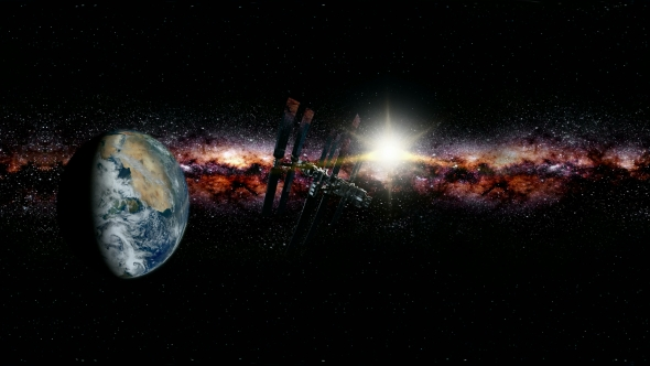 International Space Station Orbiting Earth in Virtual ...