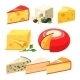 Cheese Types. Icons Isolated on White Background