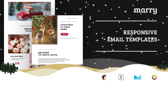 Merry - Christmas Email Templates Set + StampReady Builder