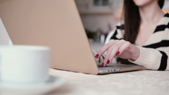 VideoHive Beautiful Young Brunette Woman Uses Laptop in a Bright Dining Slider To the Right 19144908
