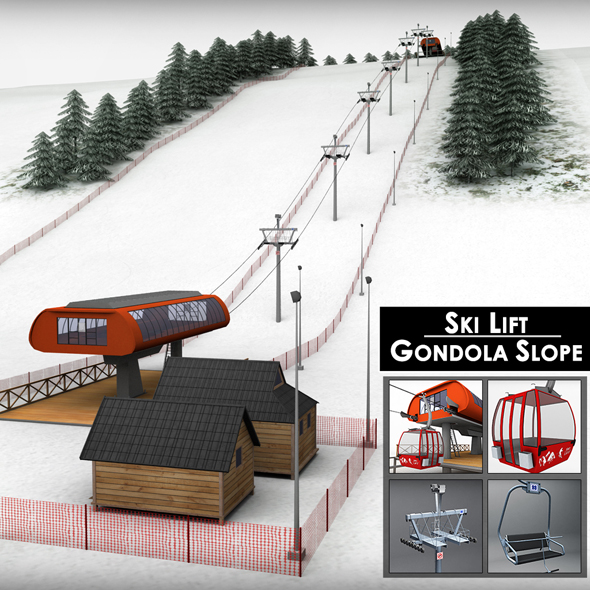 Ski slope lift gondola mountain large pack - 3DOcean Item for Sale