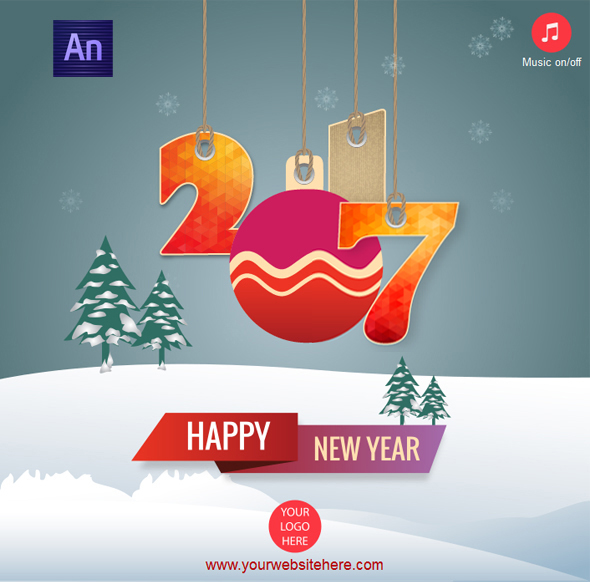 Happy New Year 2017 Greeting Card - CodeCanyon Item for Sale
