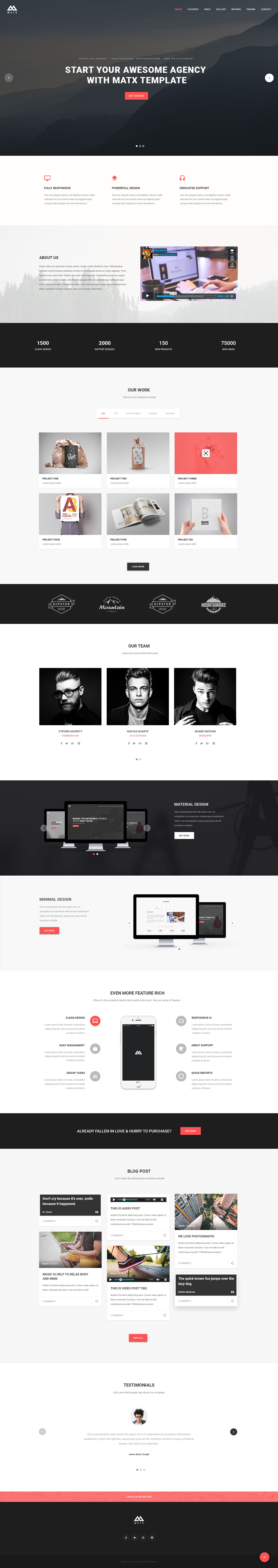 Matx material design agency template by coderpixel for Home design agency scp
