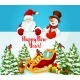 New Year Card with Santa Claus, Snowman and Gift