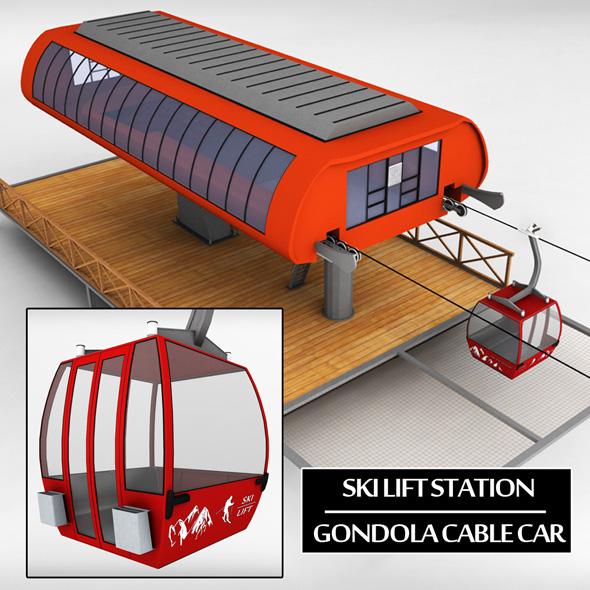 Ski lift station gondola cable car - 3DOcean Item for Sale