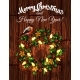 Christmas Wreath with Holly on Wooden Background