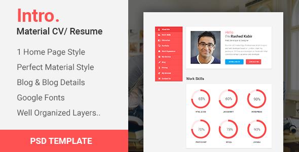 Intro. - Material CV Portfolio/Resume PSD Template