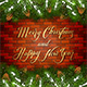 Christmas Lettering on Brick Wall Background with Fir Tree Branches