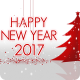 Happy New Year - With Christmas Trees and Snow