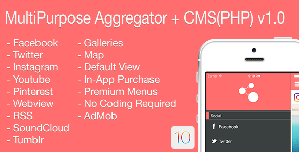 Multi-Purpose Aggregator + CMS(PHP) iOS Application v1.0