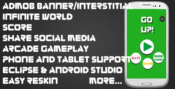 Go UP! - Android studio & Eclipse + Admob Ads + Share + Infinite World