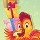 Symbol of Chinese Horoscope - Fire Rooster with Gift Boxes