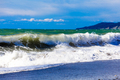 View of storm seascape.  Sea background. Waves.  waves crashing
