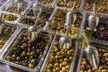 olives on the market. Greek olives
