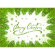 Merry Christmas on Green Background with Fir Tree Brunches