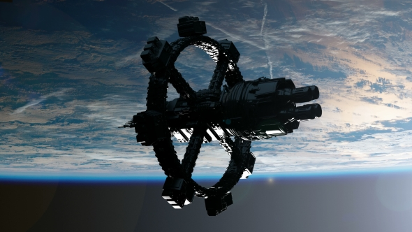 Download Space Station Orbiting Earth nulled download