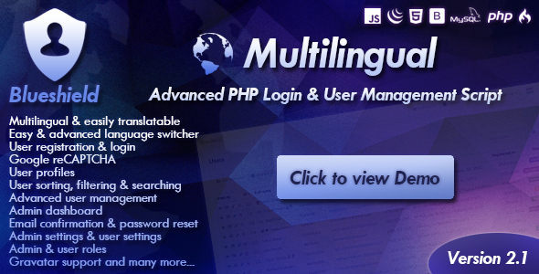 Download Blueshield - Advanced Secure User Login, User Registration and User Management PHP script nulled download