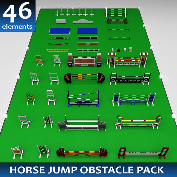 Horse jump obstacle full pack - 3DOcean Item for Sale
