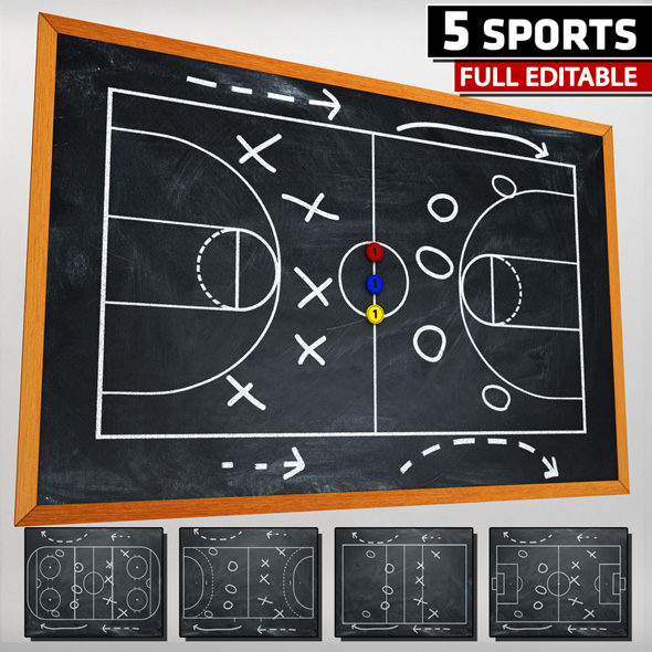 Sport blackboard tactical low poly - 3DOcean Item for Sale