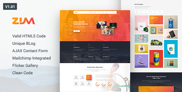 Download Zim - One Page Responsive HTML Template