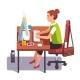 Clerk Woman Working on a Desktop Computer